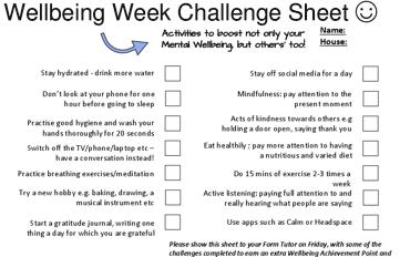 Nower Hill's Wellbeing Week