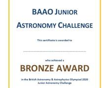 Year 10 astro certificate bronze