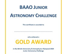 Year 10 astro certificate gold