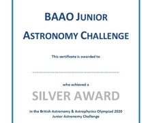 Year 10 astro certificate silver